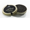 """Caviar Perle Noire """"Classique"""" - Caviar of character, full-bodied flavour, salted with a longer finish marine shellfish. This caviar gives a bouquet that travellers who appreciated Russian caviar will remember.  Refining: in a cool room from 2 to 12 months in a """"BO original tin"""" which is the traditional preservation caviar boxes and the equivalent of our finest wines oak barrels. In these tins, caviar undergoes a slow ageing process in which turn out gradually numerous flavourings. BO are turned, squeezed and carefully followed up, one by one.  Colour: charcoal grey to black grains"""