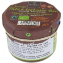 HAZELNUT AND BLACK CHOCOLATE ORGANIC SPREAD - A tasty and healthy spread, containing 40% of first choice hazelnuts from Italy and organic dark chocolate Saint Domingue pure cocoa butter, without preservatives, without palm oil or coconut oil.